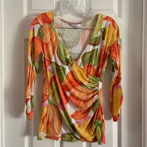 CAbi Bright Tulip Print Faux Wrap Long Sleeve Top
